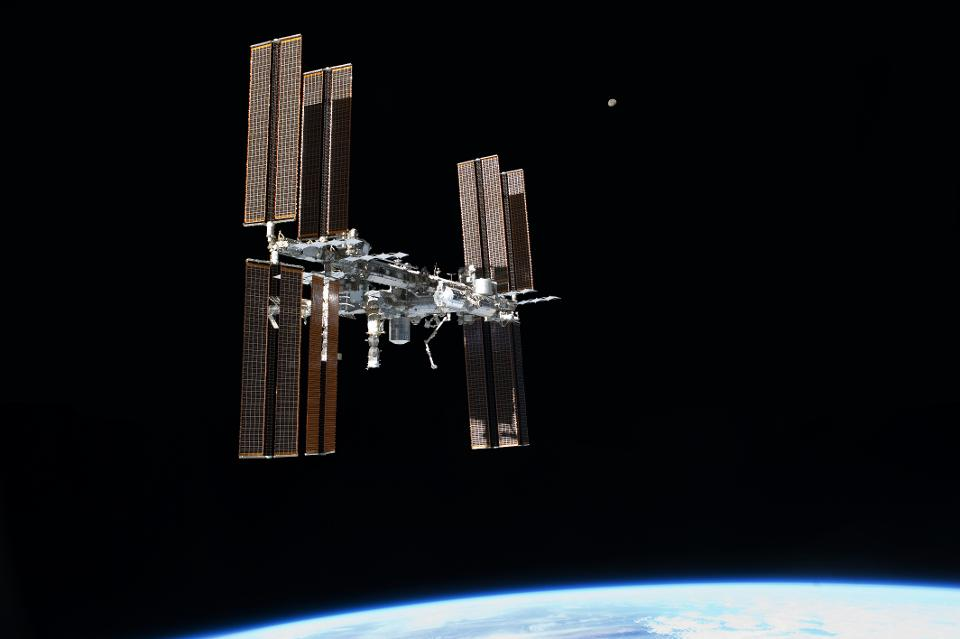 ISS as seen from STS-135 during departure