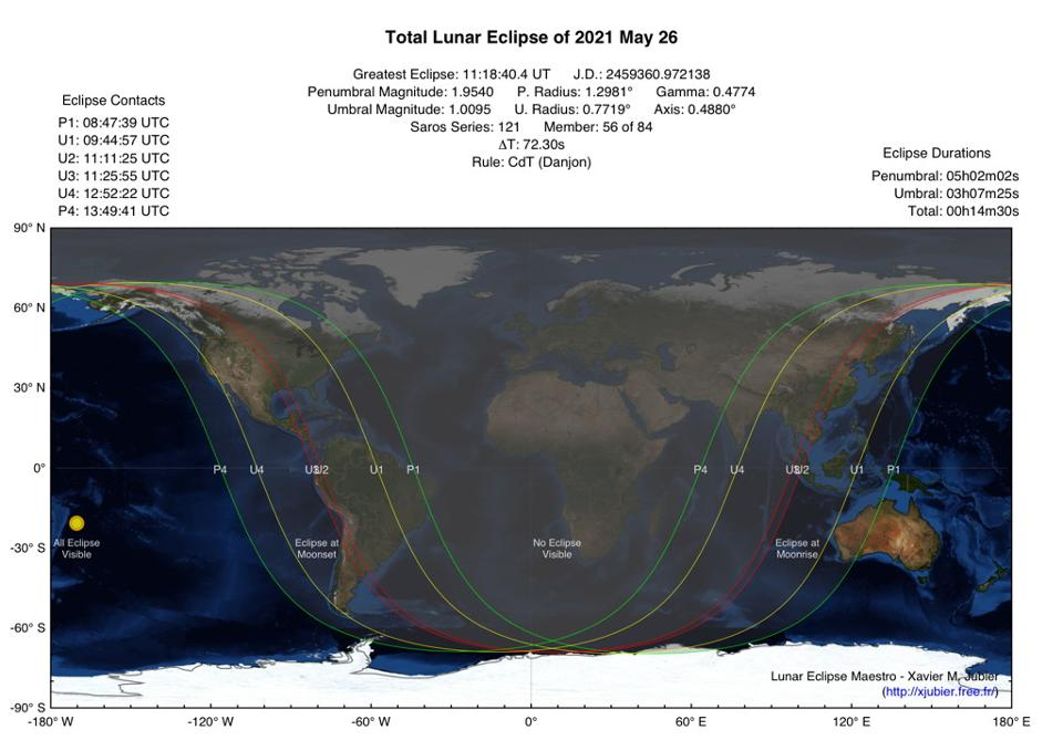 The US Southwest and Australia will be the best locations to observe the short total lunar eclipse of May 26, 2021.